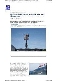 Spektakuläre Stunts aus dem Heli am Thunersee