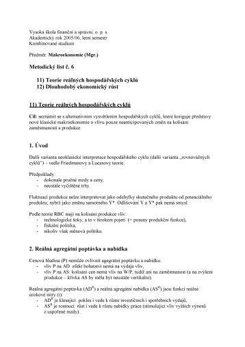 Metodický list č. 6 11) Teorie reálných hospodářských cyklů 12 ...