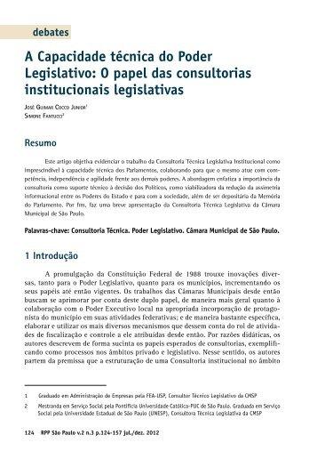 A Capacidade técnica do Poder Legislativo: O papel das ...