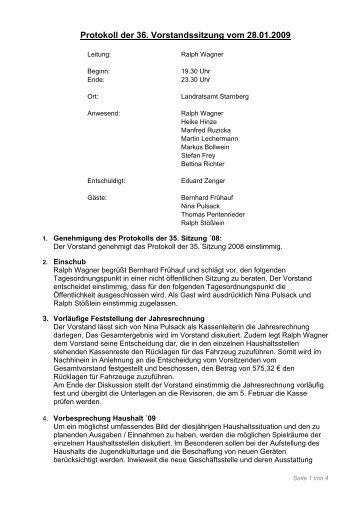 Protokoll der 36. Vorstandssitzung vom 28.01.2009
