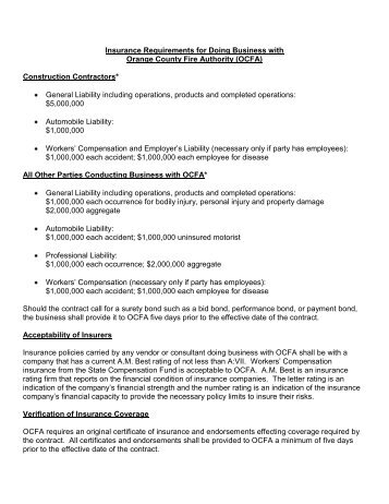 Concessioner Contract Insurance Requirements Nps