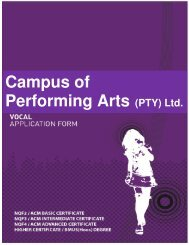 Campus of Performing Arts (PTY) Ltd.