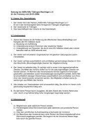 Satzung der AIDS-Hilfe Tübingen-Reutlingen e.V. (in der Fassung ...