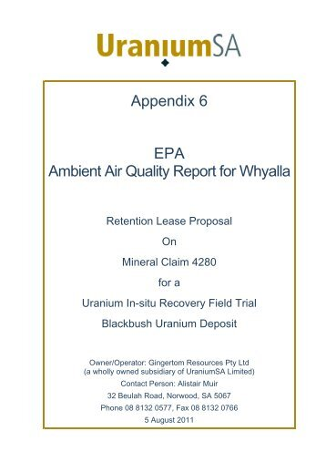 Appendix 6 EPA Ambient Air Quality Report for Whyalla - UraniumSA