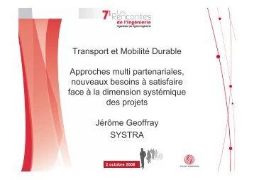 Transport et Mobilité Durable Approches multi ... - Syntec ingenierie