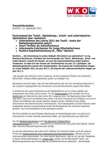 Pressetext Dornbirn 13. September 2011 - Die Textilindustrie