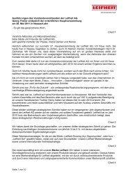 Ausführungen des Vorstandsvorsitzenden der Leifheit AG Georg ...
