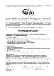 Stellenausschreibung HEP TAF - Caritas Werkstätten