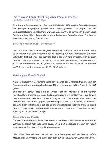 Verklicken bei Reisebuchung im Internet - Lex-it Rechtsanwaltskanzlei