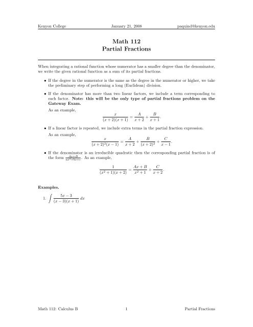 partial fractions worksheet  kenyon college