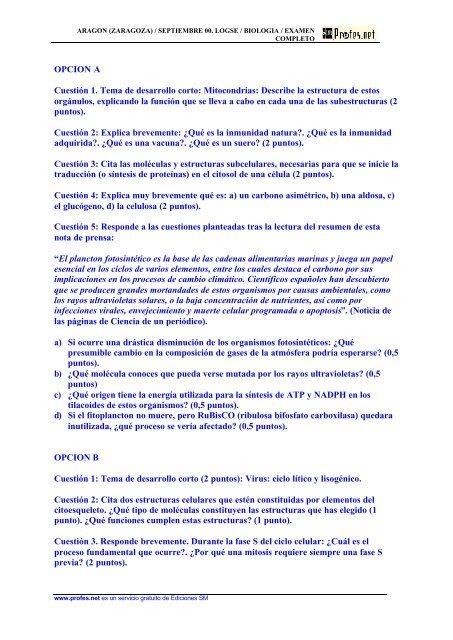 Opcion A Cuestión 1 Tema De Desarrollo Corto Profes Net