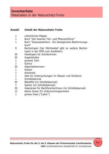 Nachbestell-Liste - Liechtensteinische Gesellschaft für Umweltschutz