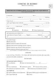 Domanda di autorizzazione allo scarico (aprile ... - Comune di Budrio