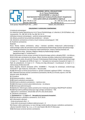 P-19-2013 ogloszenie.. - Radomski Szpital Specjalistyczny im. dr ...