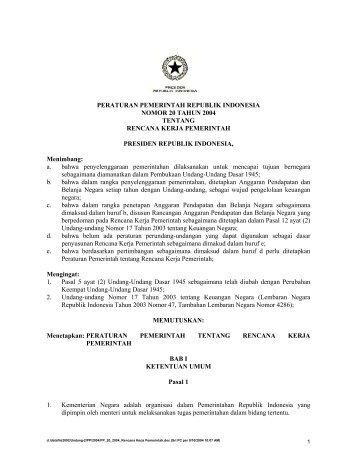peraturan pemerintah republik indonesia nomor 20 tahun 2004
