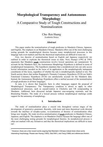 Morphological Transparency and Autonomous ... - Academia Sinica