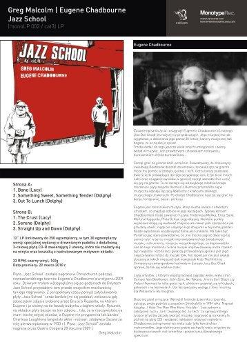 Greg Malcolm | Eugene Chadbourne Jazz School - Monotype