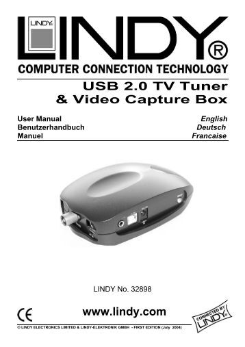 USB 2.0 TV Tuner & Video Capture Box www.lindy.com