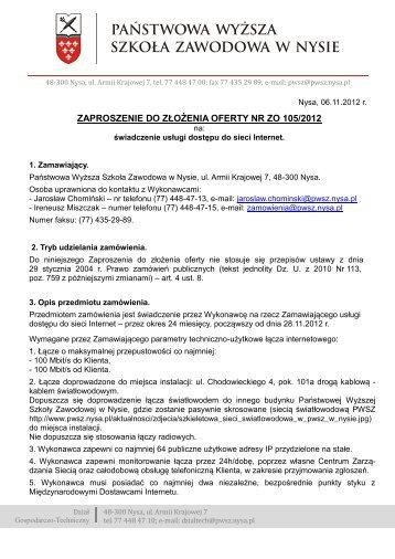 Zaproszenie do złożenia oferty - Państwowa Wyższa Szkoła ...