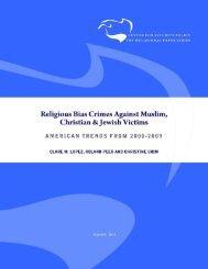 Religious Bias Crimes Against Muslim, Christian & Jewish Victims