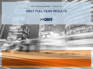 GBST FULL YEAR RESULTS - Open Briefing