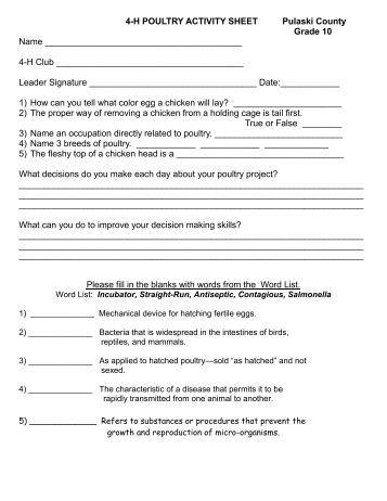 4-H POULTRY ACTIVITIY SHEETS Pulaski County Grade 10 Name ...