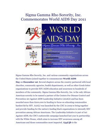 Sigma Gamma Rho Sorority, Inc. Commemorates World AIDS Day ...