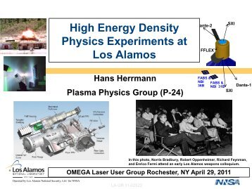 High Energy Density Experiments at Los Alamos - Laboratory for ...