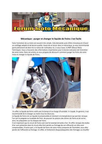 Mécanique : purger et changer le liquide de freins c'est facile