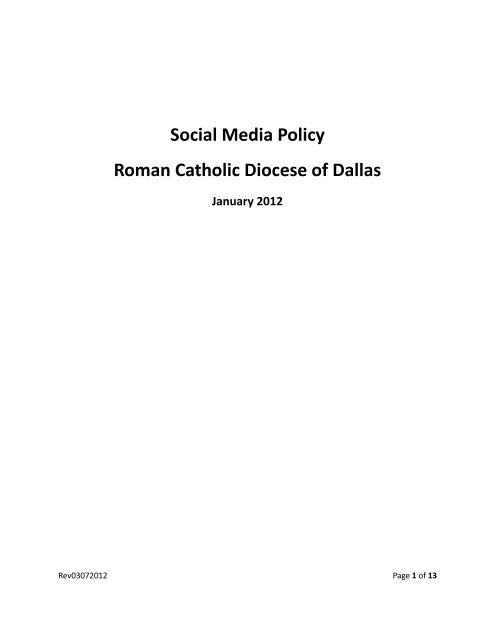 Social Media Policy Roman Catholic Diocese of ... - John Paul II HS