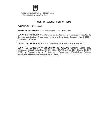 CONTRATACIÓN DIRECTA Nº 34/2012 EXPEDIENTE: 14-2012 ...