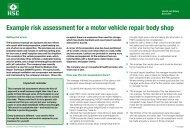 Example risk assessment: Motor vehicle repair ... - Promax Access