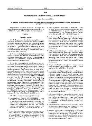 Rozporządzenie Ministra Rozwoju Regionalnego z dnia 15 czerwca