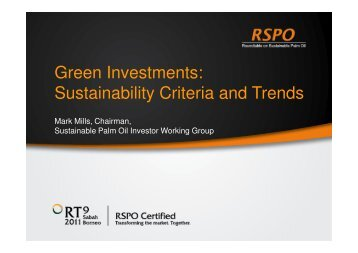 Green Investments: Sustainability Criteria and Trends - RT9 2011