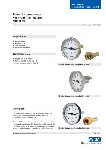 Bimetal thermometer For industrial heating Model 46