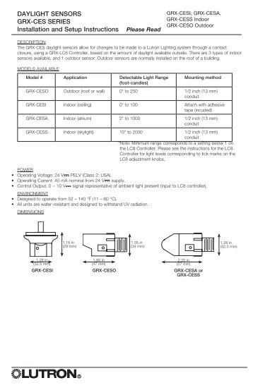 Daylight Sensors Grx Ces Series Installation And Lutron on Lutron Maestro Dimmer Wiring Diagram