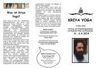 4.– 6.4.2014 - Kriya Yoga Institute
