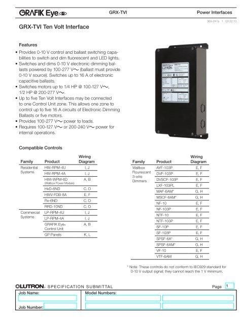 Grx Tvi Ten Volt Interface Lutron