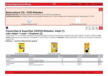 Bedruckbare CD- / DVD-Etiketten