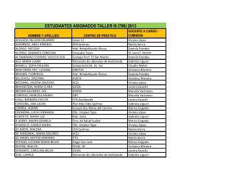 estudiantes asignados taller iii (796) 2013 - Carrera de Trabajo Social