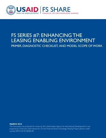 FS Series #7: Enhancing the Leasing Enabling Environment