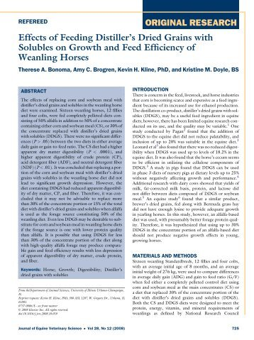 Effects of Feeding Distiller's Dried Grains with Solubles on Growth ...