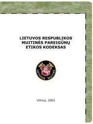 Muitinės pareigūnų etikos kodeksas - Lietuvos Respublikos muitinė