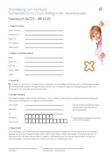 Anmeldung zum Fernkurs Fachberater/in für ... - Apothekenzukunft