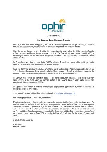 to download a PDF version of this press release - Ophir Energy