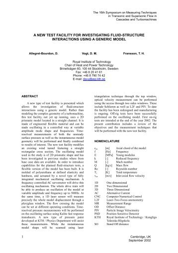 1 a new test facility for investigating fluid-structure interactions ... - KTH