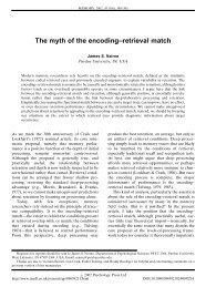 The myth of the encoding-retrieval match - Psychology Press