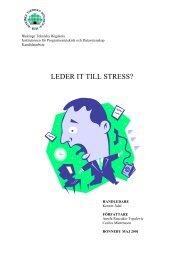 LEDER IT TILL STRESS? - Blekinge Tekniska Högskola