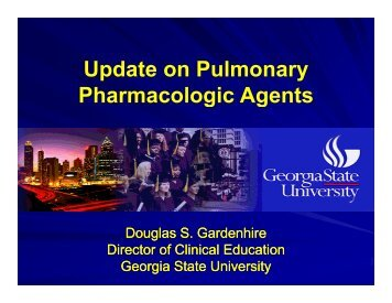 Update on Pulmonary Pharmacologic Agents - Foocus