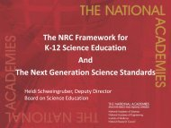 The NRC Framework for K-12 Science Education And The Next ...